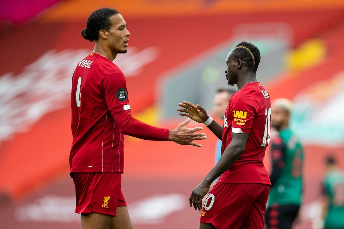 LIVERPOOL, ENGLAND - Sunday, July 5, 2020: Liverpool's Sadio Mané (R) celebrates scoring the first goal with team-mate Virgil van Dijk (L) during the FA Premier League match between Liverpool FC and Aston Villa FC at Anfield. The game was played behind closed doors due to the UK government's social distancing laws during the Coronavirus COVID-19 Pandemic. (Pic by David Rawcliffe/Propaganda)