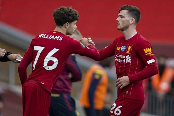 LIVERPOOL, ENGLAND - Sunday, July 5, 2020: Liverpool's Andy Robertson is replaced by substitute Neco Williams during the FA Premier League match between Liverpool FC and Aston Villa FC at Anfield. The game was played behind closed doors due to the UK government's social distancing laws during the Coronavirus COVID-19 Pandemic. (Pic by David Rawcliffe/Propaganda)