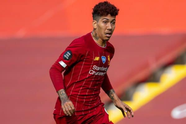 LIVERPOOL, ENGLAND - Sunday, July 5, 2020: Liverpool's Roberto Firmino, with dyed red hair, during the FA Premier League match between Liverpool FC and Aston Villa FC at Anfield. The game was played behind closed doors due to the UK government's social distancing laws during the Coronavirus COVID-19 Pandemic. (Pic by David Rawcliffe/Propaganda)