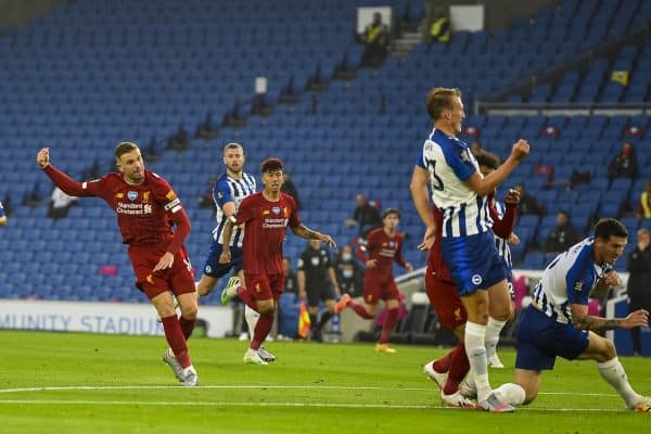 Liverpool's captain Jordan Henderson celebrates scoring the second goal during the FA Premier League match between Brighton & Hove Albion FC and Liverpool FC at the AMEX Stadium. The game was played behind closed doors due to the UK government's social distancing laws during the Coronavirus COVID-19 Pandemic. (Pic by Propaganda)