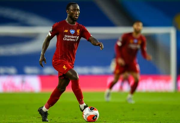 BRIGHTON & HOVE, ENGLAND - Wednesday, July 8, 2020: Liverpool's Naby Keita during the FA Premier League match between Brighton & Hove Albion FC and Liverpool FC at the AMEX Stadium. The game was played behind closed doors due to the UK government's social distancing laws during the Coronavirus COVID-19 Pandemic. (Pic by Propaganda)