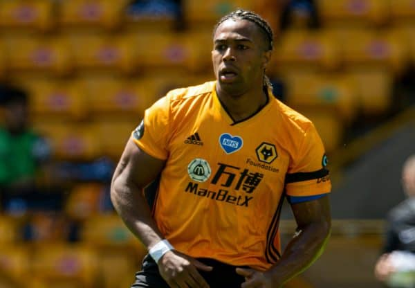WOLVERHAMPTON, ENGLAND - Sunday, July 12, 2020: Wolverhampton Wanderers' Adama Traoré during the FA Premier League match between Wolverhampton Wanderers FC and Everton FC at Molineux Stadium. The game was played behind closed doors due to the UK government's social distancing laws during the Coronavirus COVID-19 Pandemic. (Pic by David Rawcliffe/Propaganda)