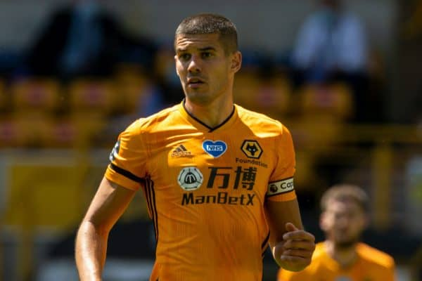 WOLVERHAMPTON, ENGLAND - Sunday, July 12, 2020: Wolverhampton Wanderers' captain Conor Coady during the FA Premier League match between Wolverhampton Wanderers FC and Everton FC at Molineux Stadium. The game was played behind closed doors due to the UK government's social distancing laws during the Coronavirus COVID-19 Pandemic. (Pic by David Rawcliffe/Propaganda)