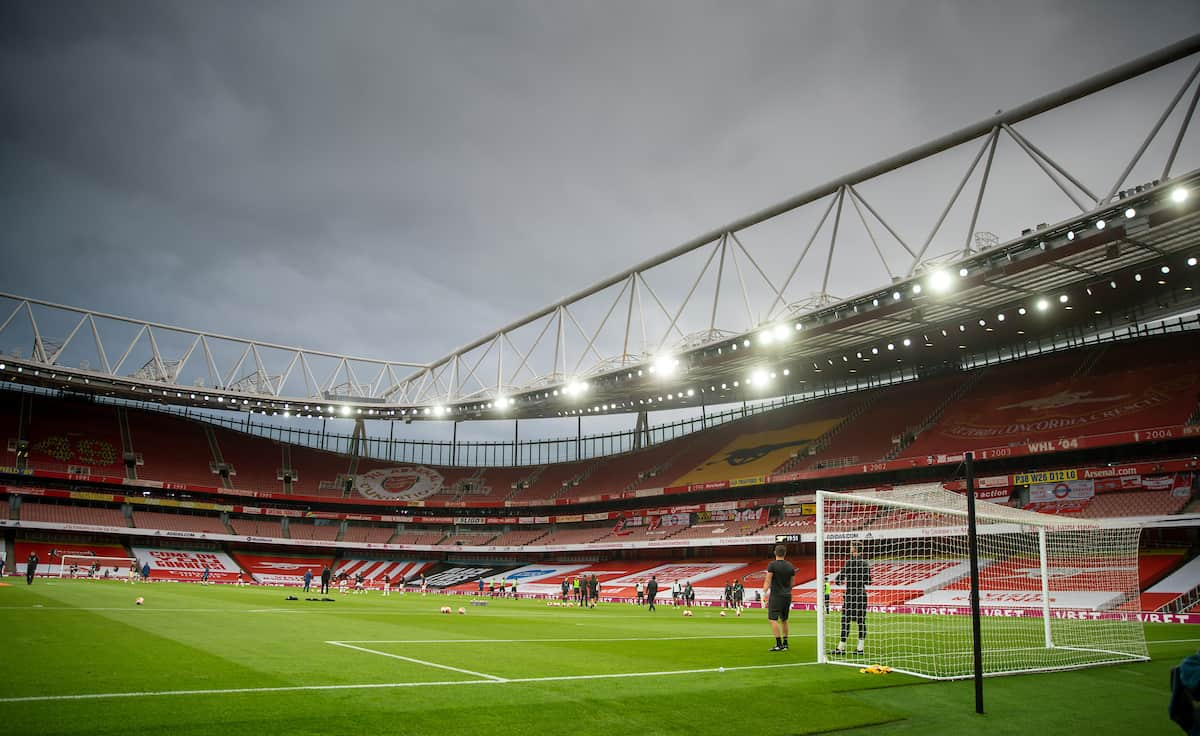 LONDON, ENGLAND - Tuesday, July 14, 2020: A general view during the FA Premier League match between Arsenal FC and Liverpool FC at the Emirates Stadium. The game was played behind closed doors due to the UK government's social distancing laws during the Coronavirus COVID-19 Pandemic. (Pic by David Rawcliffe/Propaganda)