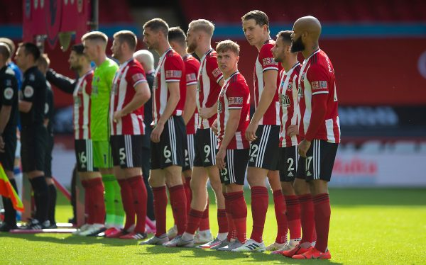 SHEFFIELD, ENGLAND - Monday, July 20, 2020: Sheffield United players line-up before the FA Premier League match between Sheffield United FC and Everton FC at Bramall Lane. The game was played behind closed doors due to the UK government's social distancing laws during the Coronavirus COVID-19 Pandemic. (Pic by David Rawcliffe/Propaganda)