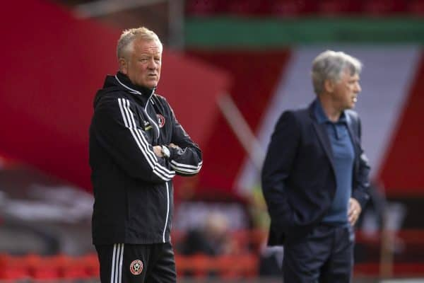 SHEFFIELD, ENGLAND - Monday, July 20, 2020: Sheffield United's manager Chris Wilder during the FA Premier League match between Sheffield United FC and Everton FC at Bramall Lane. The game was played behind closed doors due to the UK government's social distancing laws during the Coronavirus COVID-19 Pandemic. (Pic by David Rawcliffe/Propaganda)
