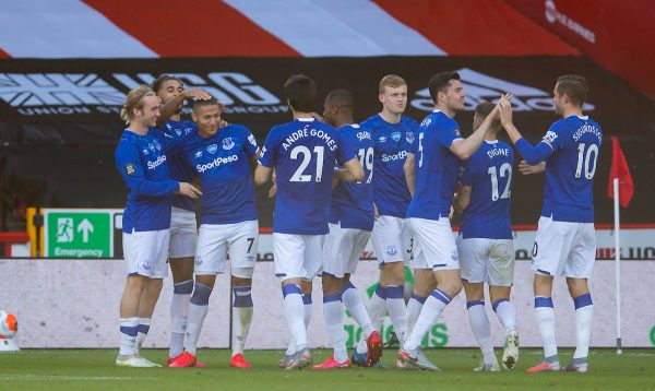 SHEFFIELD, ENGLAND - Monday, July 20, 2020: Everton's Richarlison de Andrade (3rd from L) celebrates scoring the only goal of the game during the FA Premier League match between Sheffield United FC and Everton FC at Bramall Lane. The game was played behind closed doors due to the UK government's social distancing laws during the Coronavirus COVID-19 Pandemic. (Pic by David Rawcliffe/Propaganda)