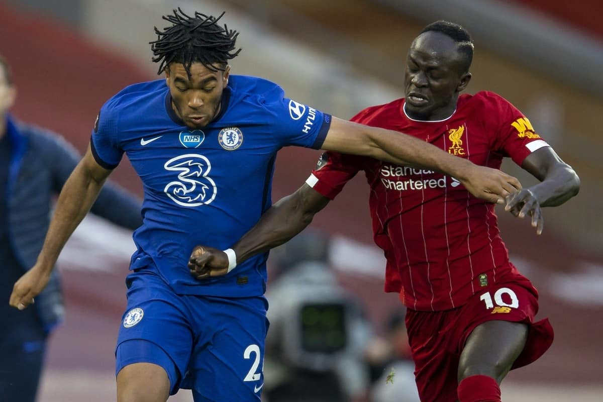 LIVERPOOL, ENGLAND - Wednesday, July 22, 2020: Chelsea's Reece James (L) and Liverpool's Sadio Mané during the FA Premier League match between Liverpool FC and Chelsea FC at Anfield. The game was played behind closed doors due to the UK government's social distancing laws during the Coronavirus COVID-19 Pandemic. (Pic by David Rawcliffe/Propaganda)
