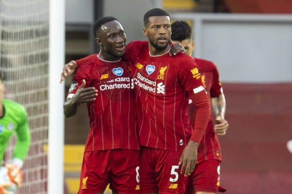 LIVERPOOL, ENGLAND - Wednesday, July 22, 2020: Liverpool's Naby Keita (L) celebrates scoring the first goal with team-mate Georginio Wijnaldum during the FA Premier League match between Liverpool FC and Chelsea FC at Anfield. The game was played behind closed doors due to the UK government's social distancing laws during the Coronavirus COVID-19 Pandemic. (Pic by David Rawcliffe/Propaganda)