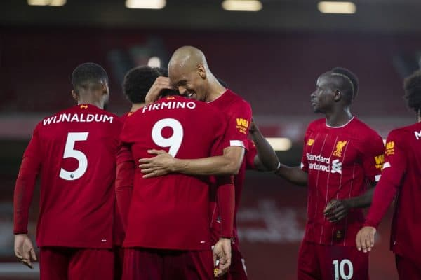 LIVERPOOL, ENGLAND - Wednesday, July 22, 2020: Liverpool's Roberto Firmino (#9) celebrates scoring the fourth goal, to make the score 4-1, with team-mates during the FA Premier League match between Liverpool FC and Chelsea FC at Anfield. The game was played behind closed doors due to the UK government's social distancing laws during the Coronavirus COVID-19 Pandemic. (Pic by David Rawcliffe/Propaganda)