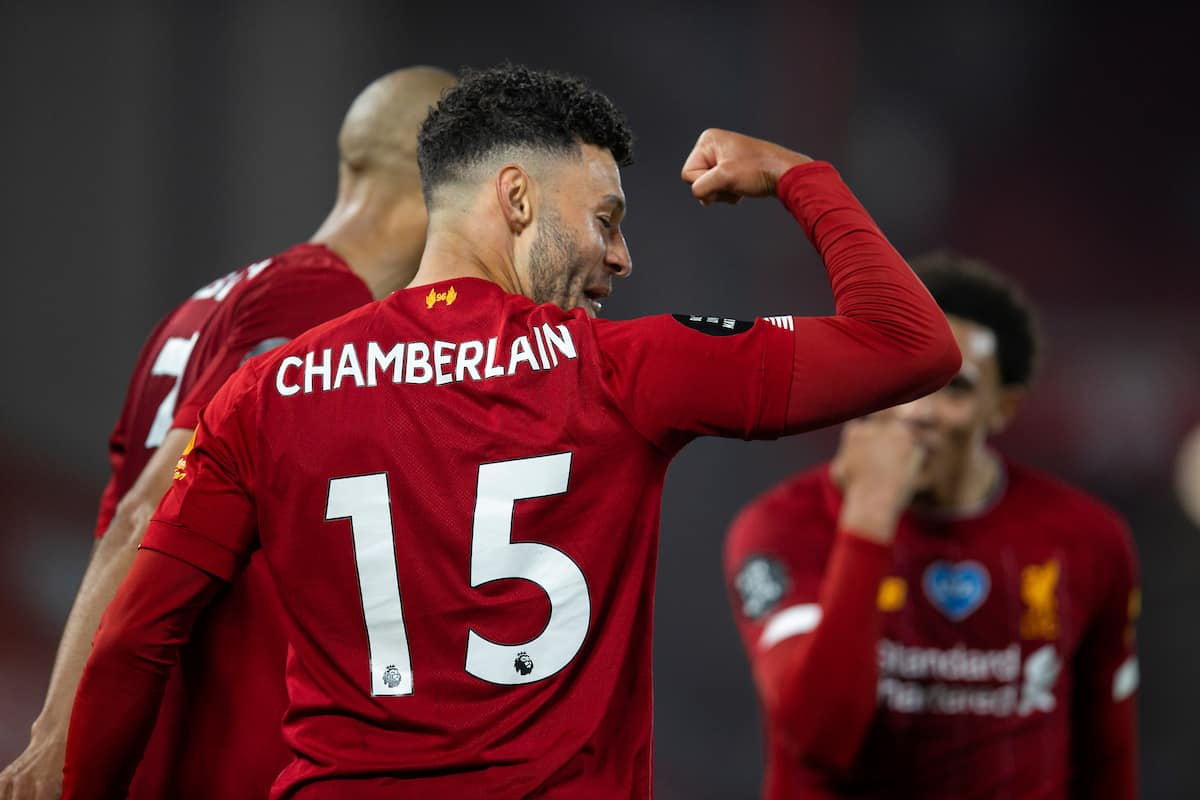 LIVERPOOL, ENGLAND - Wednesday, July 22, 2020: Liverpool's Alex Oxlade-Chamberlain celebrates scoring his side's fifth goal, to make the score 5-3, during the FA Premier League match between Liverpool FC and Chelsea FC at Anfield. The game was played behind closed doors due to the UK government's social distancing laws during the Coronavirus COVID-19 Pandemic. (Pic by David Rawcliffe/Propaganda)