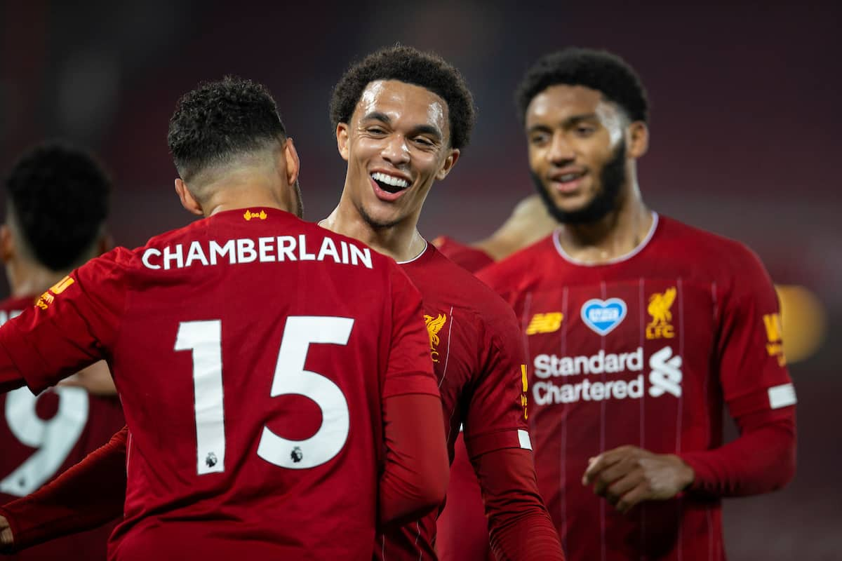LIVERPOOL, ENGLAND - Wednesday, July 22, 2020: Liverpool's Trent Alexander-Arnold celebrates the fifth goal with goal-scorer Alex Oxlade-Chamberlain (L) during the FA Premier League match between Liverpool FC and Chelsea FC at Anfield. The game was played behind closed doors due to the UK government's social distancing laws during the Coronavirus COVID-19 Pandemic. (Pic by David Rawcliffe/Propaganda)