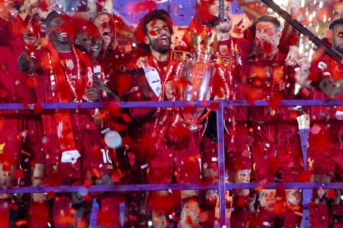LIVERPOOL, ENGLAND - Wednesday, July 22, 2020: Liverpool's Mohamed Salah and his team are lost in confetti during the trophy presentation as the Reds are crowned Champions after the FA Premier League match between Liverpool FC and Chelsea FC at Anfield. The game was played behind closed doors due to the UK government's social distancing laws during the Coronavirus COVID-19 Pandemic. (Pic by David Rawcliffe/Propaganda)