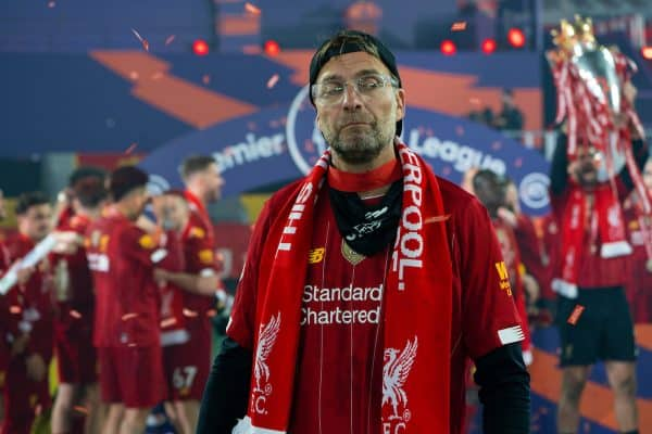 LIVERPOOL, ENGLAND - Wednesday, July 22, 2020: Liverpool's manager Jürgen Klopp celebrates as the Reds are crowned Champions after the FA Premier League match between Liverpool FC and Chelsea FC at Anfield. The game was played behind closed doors due to the UK government's social distancing laws during the Coronavirus COVID-19 Pandemic. (Pic by David Rawcliffe/Propaganda)