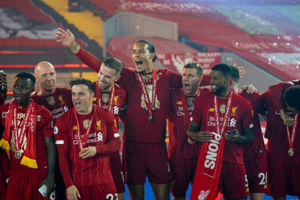 LIVERPOOL, ENGLAND - Wednesday, July 22, 2020: Liverpool's Naby Keita, Xherdan Shaqiri, captain Jordan Henderson, Virgil van Dijk, James Milner and Georginio Wijnaldum celebrate after being crowned Premier League champions after the FA Premier League match between Liverpool FC and Chelsea FC at Anfield. The game was played behind closed doors due to the UK government's social distancing laws during the Coronavirus COVID-19 Pandemic. Liverpool won 5-3. (Pic by David Rawcliffe/Propaganda)