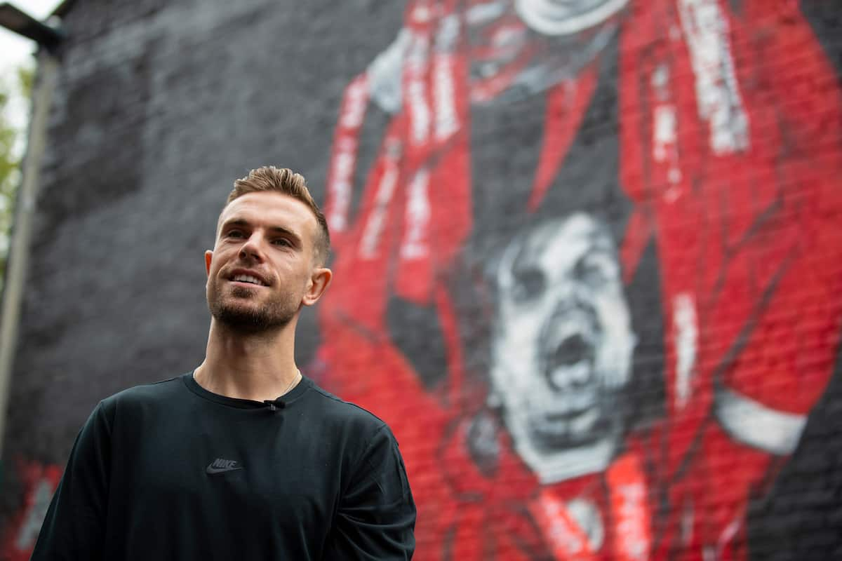 LIVERPOOL, ENGLAND - Saturday, July 25, 2020: Liverpool's captain Jordan Henderson views the new street art mural of himself lifting the FA Premier League trophy painted on a gabel end in Sybil Road, Anfield. The mural was commissioned by fan TV channel The Redmen TV. (Pic by David Rawcliffe/Propaganda)