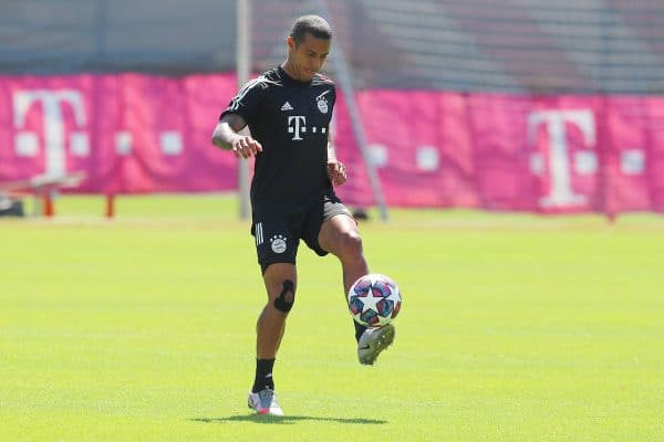 MUNICH, GERMANY - Friday, August 7, 2020: Bayern Munich's Thiago Alcantara during a training session at the Saebener Strasse training ground ahead of the UEFA Champions League round of 16 second leg match against Chelsea FC. (Photo by M. Donato/FC Bayern Munich)