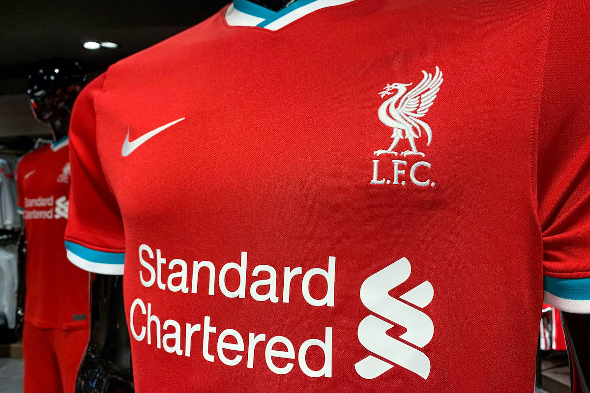 LIVERPOOL, ENGLAND - Sunday, August 9, 2020: Liverpool FC's new Nike home shirt for the 2020/21 season on display at the club's official retail store in Liverpool One. (Pic by David Rawcliffe/Propaganda)