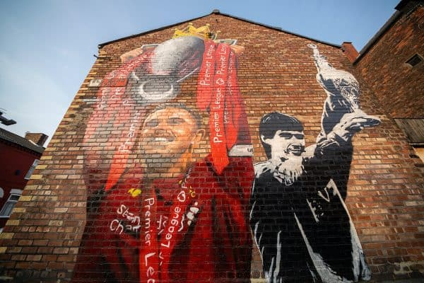 LIVERPOOL, ENGLAND - Tuesday, August 11, 2020: A new mural of Liverpool captain Jordan Henderson lifting the Premier League trophy and the last Liverpool captain to win the League title, Alan Hansen, lifting the Football League Championship trophy on the gable end wall of a house on Old Barn Road near the club's Anfield stadium. (Pic by David Rawcliffe/Propaganda)