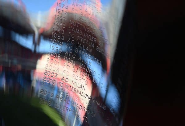 LISBON, PORTUGAL - Sunday, August 23, 2020: Previous winners etched into the European Cup trophy seen before the UEFA Champions League Final between FC Bayern Munich and Paris Saint-Germain at the Estadio do Sport Lisboa e Benfica. (Credit: ©UEFA)