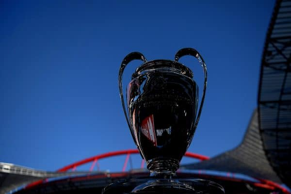 LISBON, PORTUGAL - Sunday, August 23, 2020: The European Cup trophy on display before the UEFA Champions League Final between FC Bayern Munich and Paris Saint-Germain at the Estadio do Sport Lisboa e Benfica. (Credit: ©UEFA)