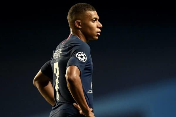LISBON, PORTUGAL - Sunday, August 23, 2020: Paris Saint-Germain's Kylian Mbappe? during the UEFA Champions League Final between FC Bayern Munich and Paris Saint-Germain at the Estadio do Sport Lisboa e Benfica. FC Bayern Munich won 1-0. (Credit: ©UEFA)