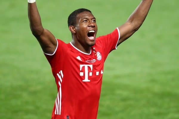 LISBON, PORTUGAL - Sunday, August 23, 2020: FC Bayern Munich's David Alaba celebrates at the after the UEFA Champions League Final between FC Bayern Munich and Paris Saint-Germain at the Estadio do Sport Lisboa e Benfica. FC Bayern Munich won 1-0. (Credit: ©UEFA)