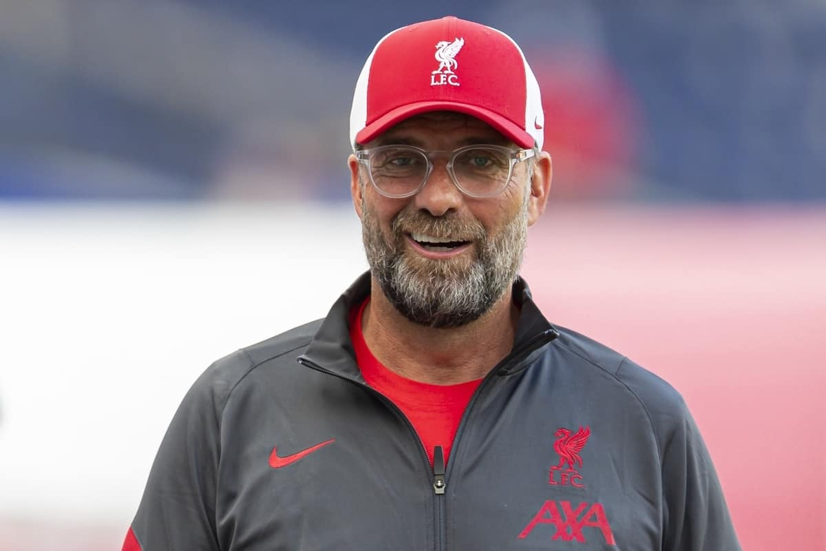 SALZBURG, AUSTRIA - Tuesday, August 25, 2020: Liverpool's manager Jürgen Klopp is interviewed by LFC.TV before a preseason friendly match between FC Red Bull Salzburg and Liverpool FC at the Red Bull Arena. (Pic by Propaganda)