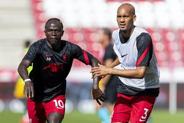 SALZBURG, AUSTRIA - Tuesday, August 25, 2020: Liverpool's Sadio Mané (L) and Fabio Henrique Tavares 'Fabinho' during the pre-match warm-up before a preseason friendly match between FC Red Bull Salzburg and Liverpool FC at the Red Bull Arena. (Pic by Propaganda)