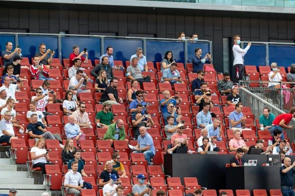 Some of the 1,250 supporters allowed into the stadium look on during a preseason friendly match between FC Red Bull Salzburg and Liverpool FC at the Red Bull Arena. (Pic by Propaganda)