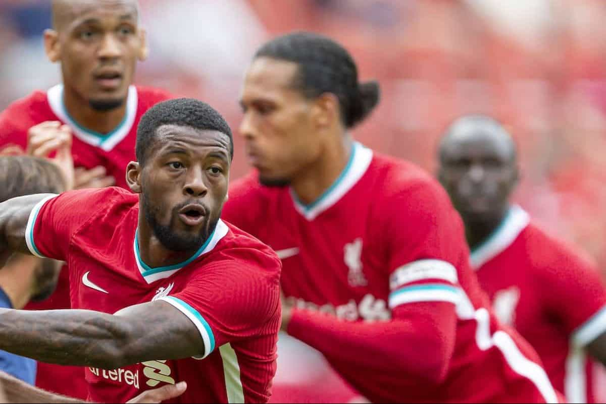 SALZBURG, AUSTRIA - Tuesday, August 25, 2020: Liverpool's Georginio Wijnaldum during a preseason friendly match between FC Red Bull Salzburg and Liverpool FC at the Red Bull Arena. (Pic by Propaganda)