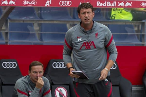 SALZBURG, AUSTRIA - Tuesday, August 25, 2020: Liverpool's assistant manager Peter Krawietz during a preseason friendly match between FC Red Bull Salzburg and Liverpool FC at the Red Bull Arena. (Pic by Propaganda)