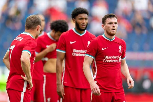 SALZBURG, AUSTRIA - Tuesday, August 25, 2020: Liverpool's Andy Robertson during a preseason friendly match between FC Red Bull Salzburg and Liverpool FC at the Red Bull Arena. (Pic by Propaganda)