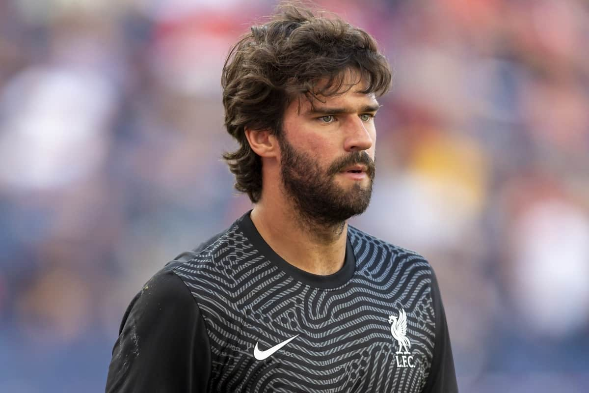 SALZBURG, AUSTRIA - Tuesday, August 25, 2020: Liverpool's goalkeeper Alisson Becker during a preseason friendly match between FC Red Bull Salzburg and Liverpool FC at the Red Bull Arena. (Pic by Propaganda)