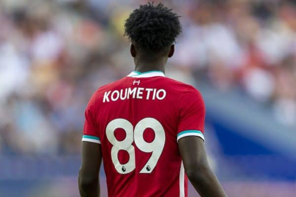 SALZBURG, AUSTRIA - Tuesday, August 25, 2020: Liverpool's substitute Billy Koumetio during a preseason friendly match between FC Red Bull Salzburg and Liverpool FC at the Red Bull Arena. (Pic by Propaganda)