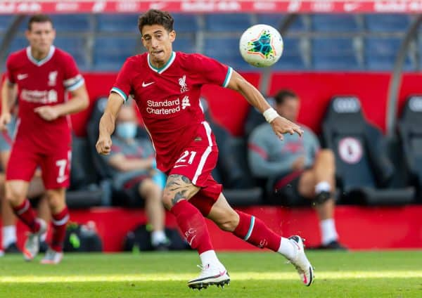 SALZBURG, AUSTRIA - Tuesday, August 25, 2020: Liverpool's substitute Kostas Tsimikas during a preseason friendly match between FC Red Bull Salzburg and Liverpool FC at the Red Bull Arena. (Pic by Propaganda)