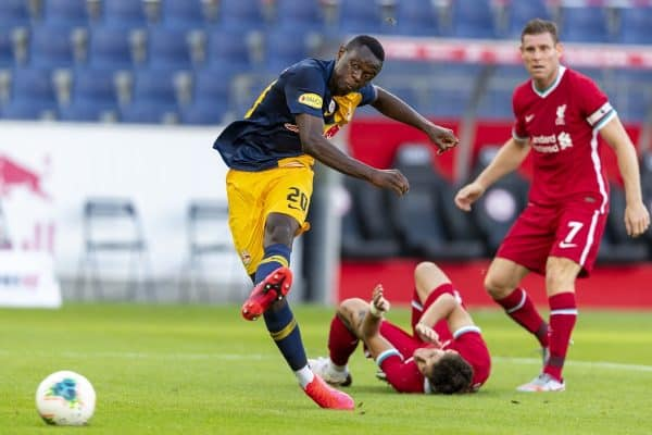 SALZBURG, AUSTRIA - Tuesday, August 25, 2020: FC Red Bull Salzburg's Patson Daka during a preseason friendly match between FC Red Bull Salzburg and Liverpool FC at the Red Bull Arena. (Pic by Propaganda)
