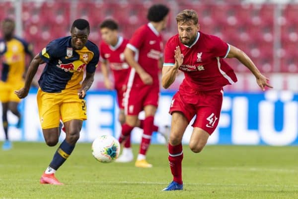SALZBURG, AUSTRIA - Tuesday, August 25, 2020: Liverpool's Nathaniel Phillips during a preseason friendly match between FC Red Bull Salzburg and Liverpool FC at the Red Bull Arena. (Pic by Propaganda)
