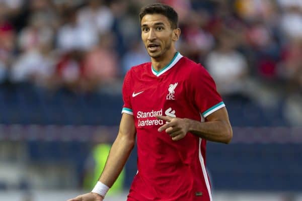SALZBURG, AUSTRIA - Tuesday, August 25, 2020: Liverpool's substitute Marko Grujic during a preseason friendly match between FC Red Bull Salzburg and Liverpool FC at the Red Bull Arena. (Pic by Propaganda)