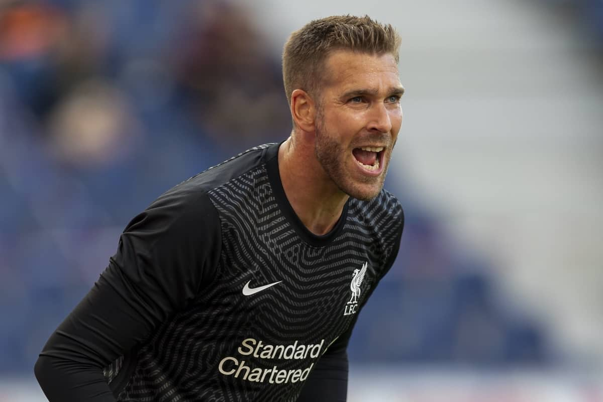 SALZBURG, AUSTRIA - Tuesday, August 25, 2020: Liverpool's substitute goalkeeper Adrian during a preseason friendly match between FC Red Bull Salzburg and Liverpool FC at the Red Bull Arena. (Pic by Propaganda)