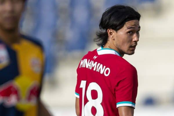 SALZBURG, AUSTRIA - Tuesday, August 25, 2020: Liverpool's Takumi Minamino during a preseason friendly match between FC Red Bull Salzburg and Liverpool FC at the Red Bull Arena. (Pic by Propaganda)