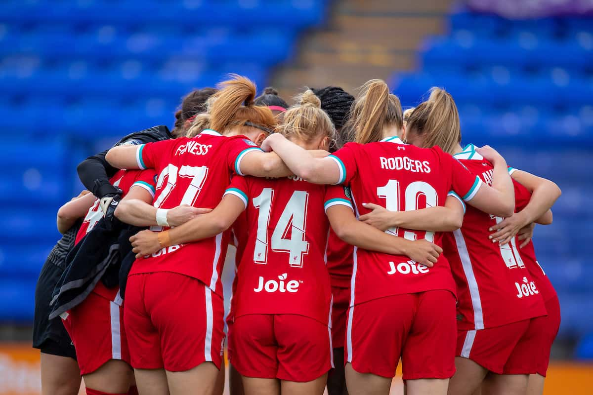 BIRKENHEAD, ENGLAND - Sunday, September 6, 2020: Liverpool players form a pre-match team huddle before the FA Women's Championship game between Liverpool FC Women and Durham Women FC at Prenton Park. (Pic by Paul Greenwood/Propaganda)