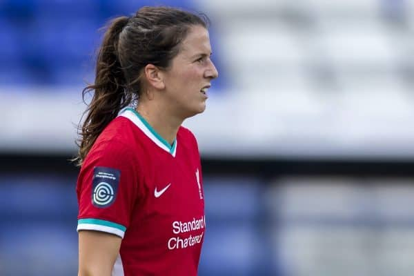 BIRKENHEAD, ENGLAND - Sunday, September 6, 2020: Liverpool's captain Niamh Fahey during the FA Women's Championship game between Liverpool FC Women and Durham Women FC at Prenton Park. (Pic by Paul Greenwood/Propaganda)