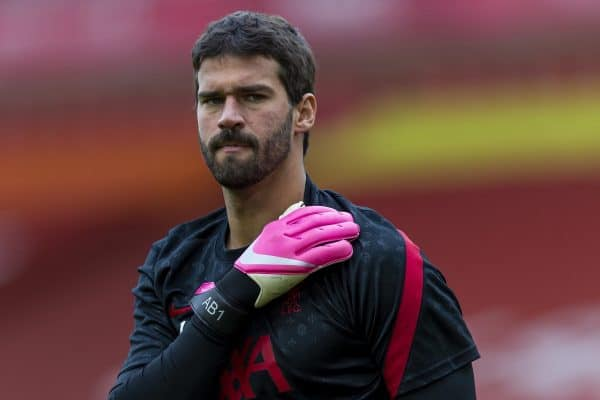 Liverpool's goalkeeper Alisson Becker during the pre-match warm-up before the opening FA Premier League match between Liverpool FC and Leeds United FC at Anfield. The game was played behind closed doors due to the UK government's social distancing laws during the Coronavirus COVID-19 Pandemic. Liverpool won 4-3. (Pic by David Rawcliffe/Propaganda)