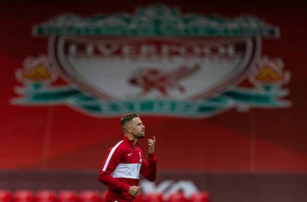 LIVERPOOL, ENGLAND - Saturday, September 12, 2020: Liverpool's captain Jordan Henderson, wearing an anthem jacket, leads his side out before the opening FA Premier League match between Liverpool FC and Leeds United FC at Anfield. The game was played behind closed doors due to the UK government's social distancing laws during the Coronavirus COVID-19 Pandemic. Liverpool won 4-3. (Pic by David Rawcliffe/Propaganda)