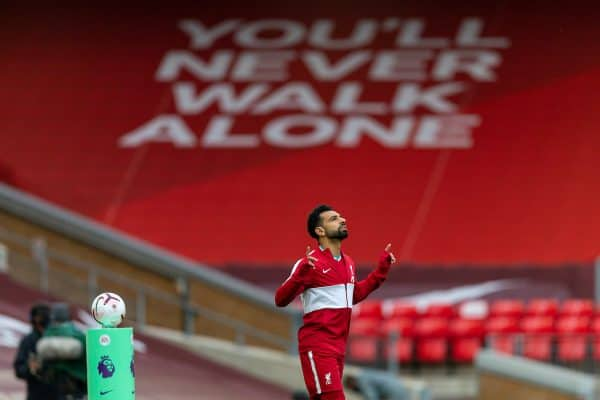 LIVERPOOL, ENGLAND - Saturday, September 12, 2020: Liverpool's Mohamed Salah, wearing an anthem jacket, before the opening FA Premier League match between Liverpool FC and Leeds United FC at Anfield. The game was played behind closed doors due to the UK government's social distancing laws during the Coronavirus COVID-19 Pandemic. Liverpool won 4-3. (Pic by David Rawcliffe/Propaganda)