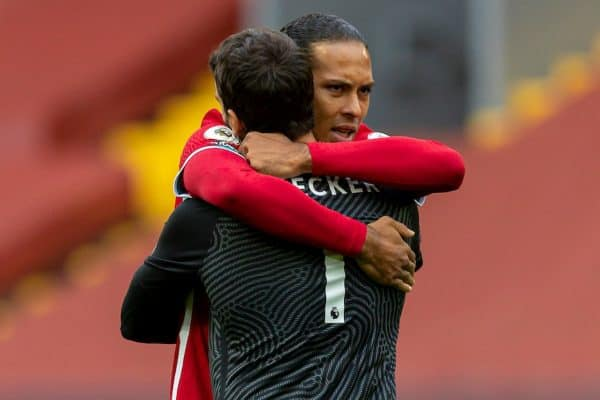 LIVERPOOL, ENGLAND - Saturday, September 12, 2020: Liverpool's Virgil van Dijk (R) embraces goalkeeper Alisson Becker before the opening FA Premier League match between Liverpool FC and Leeds United FC at Anfield. The game was played behind closed doors due to the UK government's social distancing laws during the Coronavirus COVID-19 Pandemic. Liverpool won 4-3. (Pic by David Rawcliffe/Propaganda)