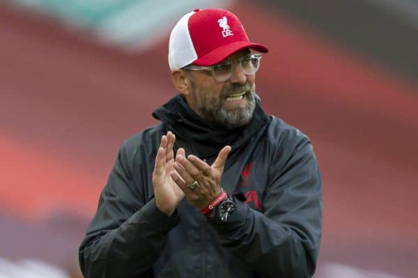 LIVERPOOL, ENGLAND - Saturday, September 12, 2020: Liverpool's manager Jürgen Klopp during the opening FA Premier League match between Liverpool FC and Leeds United FC at Anfield. The game was played behind closed doors due to the UK government's social distancing laws during the Coronavirus COVID-19 Pandemic. (Pic by David Rawcliffe/Propaganda)