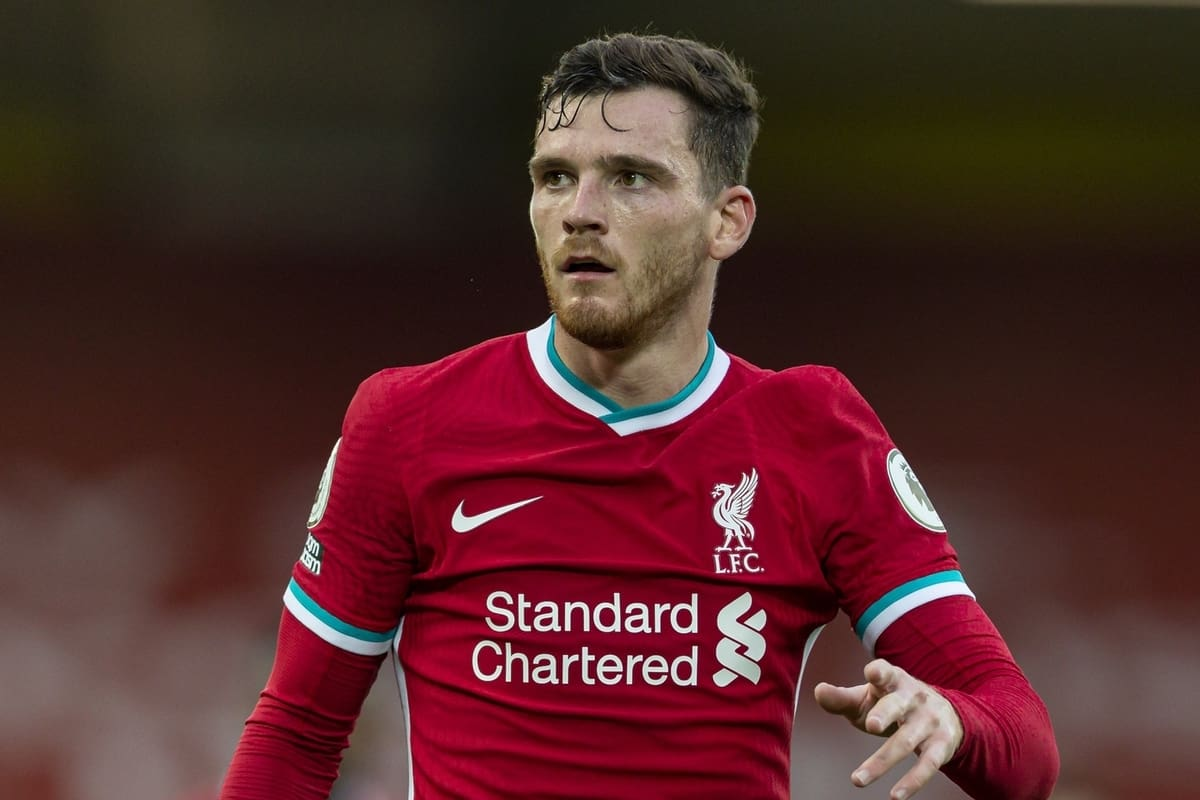 LIVERPOOL, ENGLAND - Saturday, September 12, 2020: Liverpool's Andy Robertson during the opening FA Premier League match between Liverpool FC and Leeds United FC at Anfield. The game was played behind closed doors due to the UK government's social distancing laws during the Coronavirus COVID-19 Pandemic. Liverpool won 4-3. (Pic by David Rawcliffe/Propaganda)