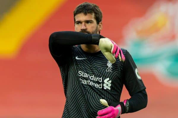 LIVERPOOL, ENGLAND - Saturday, September 12, 2020: Liverpool's goalkeeper Alisson Becker during the opening FA Premier League match between Liverpool FC and Leeds United FC at Anfield. The game was played behind closed doors due to the UK government's social distancing laws during the Coronavirus COVID-19 Pandemic. Liverpool won 4-3. (Pic by David Rawcliffe/Propaganda)
